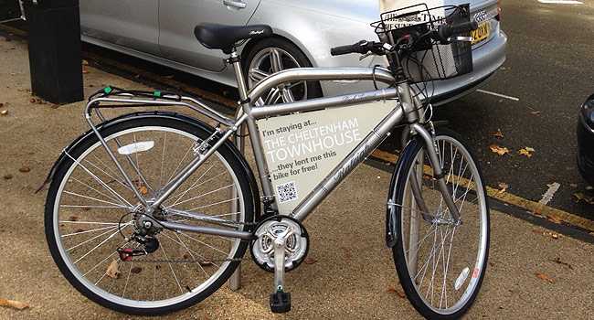 Complimentary bike hire at the Cheltenham Townhouse Hotel